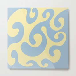 Octopus in the Waves - light blue yellow Metal Print