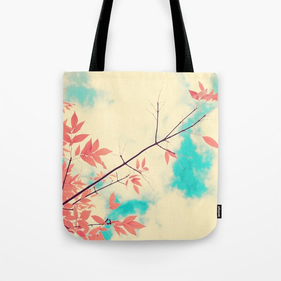 Pink fall leafs on retro vintage sky  Tote Bag