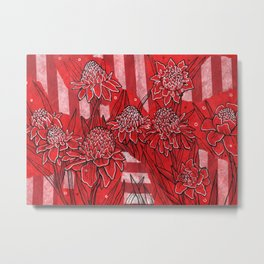 Torch Ginger Lily, Tropical Flowers, Floral Botanical Metal Print
