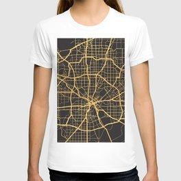 DALLAS TEXAS GOLD ON BLACK CITY MAP T-shirt