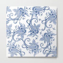 Paisley: Monaco Blue Metal Print