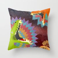 dinosaurs Throw Pillows featuring DINOSAURS by Cody Weber