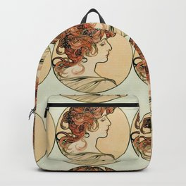 """Alphonse Mucha """"Portrait of a young woman"""" Backpack"""