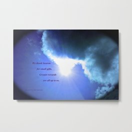 Clouds #5 with poem: Giving Thanks Metal Print