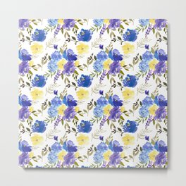 Pastel yellow blue lavender watercolor elegant floral Metal Print