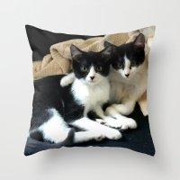 kittens Throw Pillows featuring Kittens by greenelent