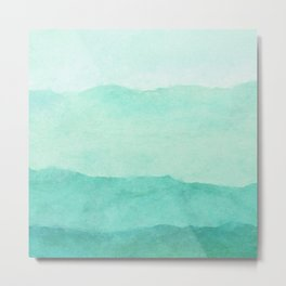Ombre Waves in Teal Metal Print