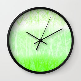 Frosted Winter Branches in Lime Green Wall Clock