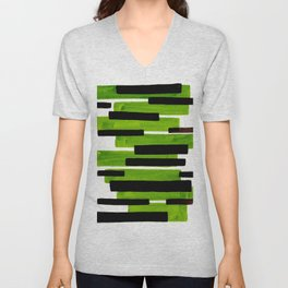 Lime Green Primitive Stripes Mid Century Modern Minimalist Watercolor Gouache Painting Colorful Stri Unisex V-Neck