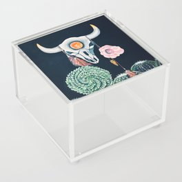 Cow Skull and Cacti on a Wolf Blood Moon Acrylic Box