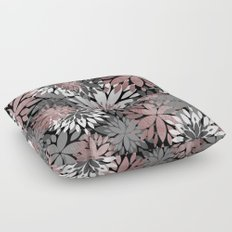 Pretty rose gold floral illustration pattern Floor Pillow