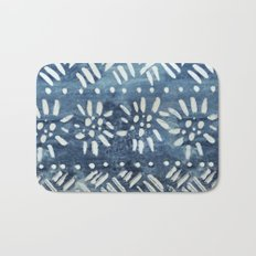 Vintage indigo inspired  flowers and lines Bath Mat