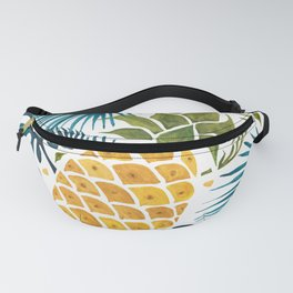 Golden pineapple on palm leaves foliage Fanny Pack