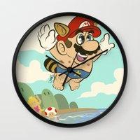 super mario Wall Clocks featuring Super Mario! by Ismael Álvarez