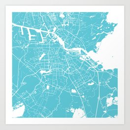 Amsterdam Turquoise on White Street Map Art Print