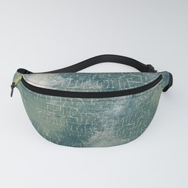 Grunge Abstract Art in Teal, Olive Green and Cream Fanny Pack