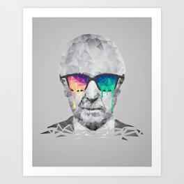 Albert Hofmann - Psychedelic Polygon Low Poly Portrait Art Print