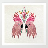 parrot Art Prints featuring parrot by Manoou
