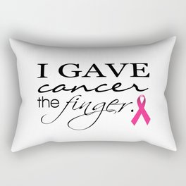 I Gave Cancer the Finger Typography & Ribbon Rectangular Pillow