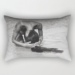 Nothing but tan lines, ocean, & beach female form black and white photography Rectangular Pillow