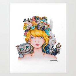 Alice in Wonderland Rendition Cartoonised Drawing Art Print