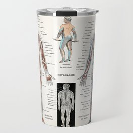 An antique  of a human nervous system and muscular system (1900) by Larousse  Auge and Claude Travel Mug
