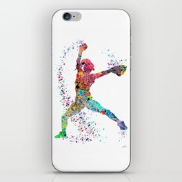 Baseball Softball Pitcher Watercolor Print Art Print Girl's Softball Painting iPhone Skin