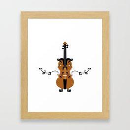 Violin, singing faces, original artwork Framed Art Print