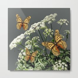 """CREAM COLORED BUTTERFLIES """"SPRING SONG"""" LACE FLOWERS Metal Print"""