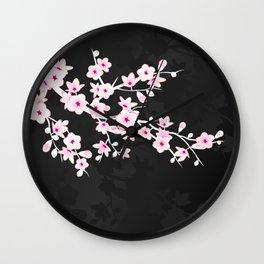 Pink Black Cherry Blossom Wall Clock