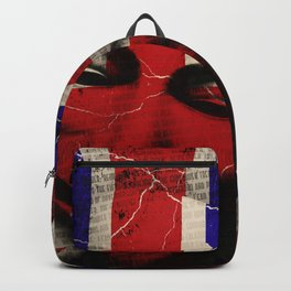 Guy Fawkes Day Union Jack Distressed Flag and Mask Backpack