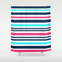 Striped multi-colored3 Shower Curtain