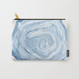 Tree Rings in Blue / Abstract Watercolor Carry-All Pouch