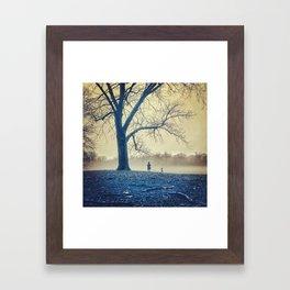 Girl, dog and tree Framed Art Print