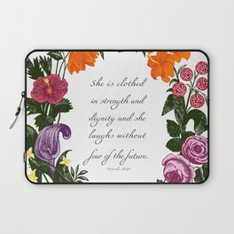 She is Clothed in Dignity and Strength and She Laughs without Fear of the Future Laptop Sleeve