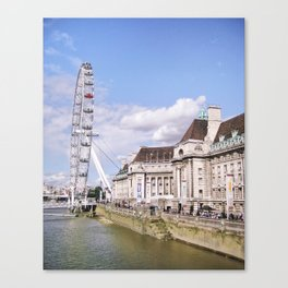 Postcard Picture of the London Eye & The Thames, bright blue tint Canvas Print