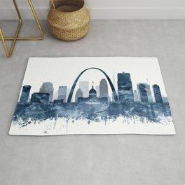 St Louis City Skyline Watercolor Blue by zouzounioart Rug