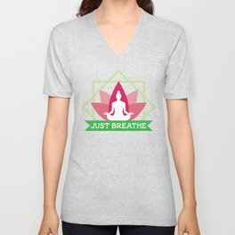 New Age Zen Yoga Lover Just Breathe Stretching Lotus Minty Unisex V-Neck