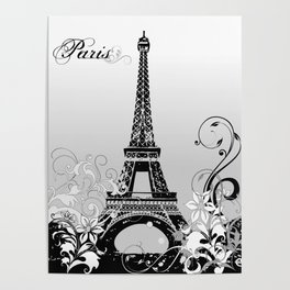 Eiffel Tower Paris (B/W) Poster