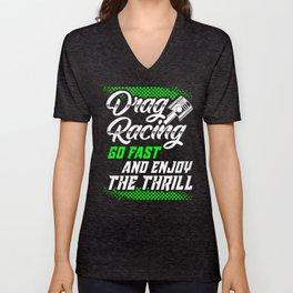 Drag Racing Gifts Dirt Track Race Car Unisex V-Neck