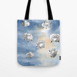 Digital Sheep in a Watercolor Sky Tote Bag