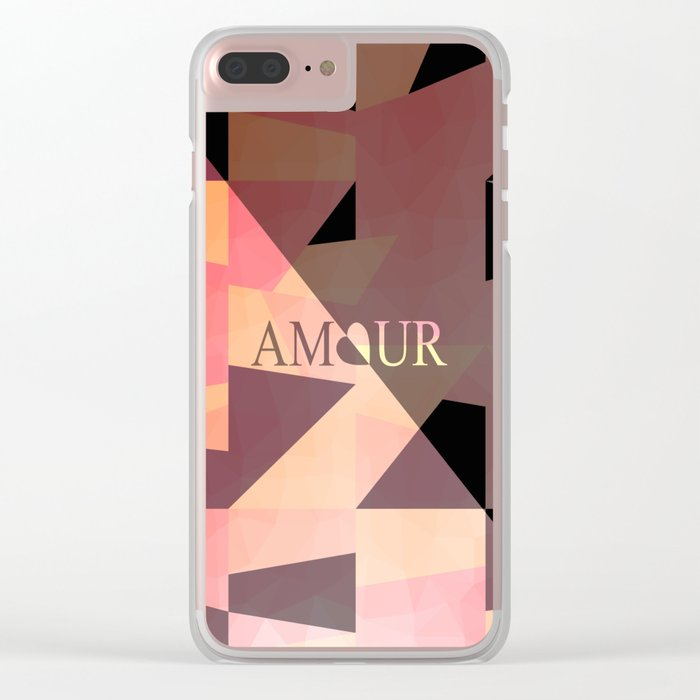 Amour Love Heart Cubic Design Clear iPhone Case