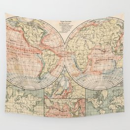 Vintage World Ocean Currents Map (1905) Wall Tapestry