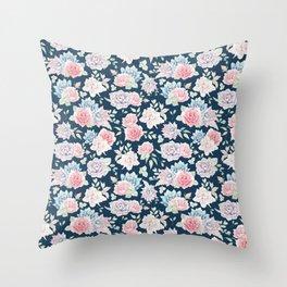 Navy blue blush pink lavender cactus floral pattern Throw Pillow