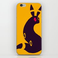 umbreon iPhone & iPod Skins featuring Umbreon-like cat rabbit by Criminal Crow