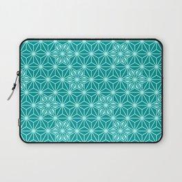 Japanese Asanoha or Star Pattern, Turquoise & Aqua Laptop Sleeve