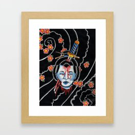 Severed Geisha head Framed Art Print