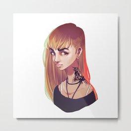 Digital Colored Girl Metal Print