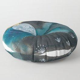 Moon Series #6 Watercolor + Ink Painting Floor Pillow