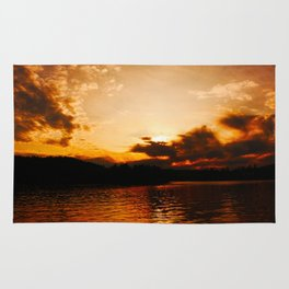 Foys Lake Montana at Sunset, Water Reflection, Neutral Colors Rug